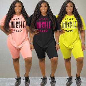 S-3XL زائد الحجم النساء الملابس الصيف سحب قطع مجموعة رياضية موضة جديدة إلكتروني إلكتروني الطباعة عارضة دعوى Y8203