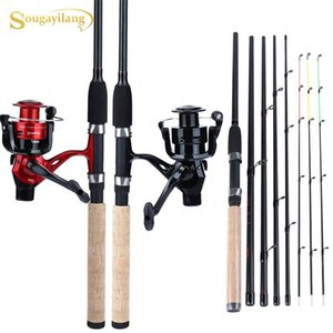 Sougayilang Fishing Combo Portable 6 Section 3M Carbon Fiber Spinning Feeder Rod And 4BB Carp Reel Set