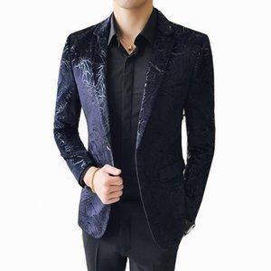 Männer Anzüge Blazer Slim Fit Black Blazer Männer 2021 Ankunft Herren Velvet Floral Prom Dress Casual und Anzug Jacke