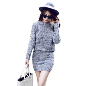 Winter Knitted Women's Suit Two Piece Skirt Set Women Clothes Long Sleeve O Neck Sweater and Dress Set