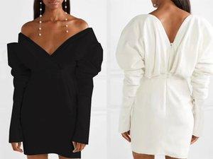 European and American autumn stars with deep V-neck bag hip lantern sleeve evening dress