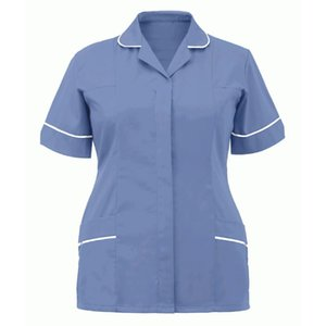 Women Nurses T-shirt Tunic Uniform Clinic Carer Lapel Protective Clothing Tops Summer Lady Fashion Plus Size Sexy Women's