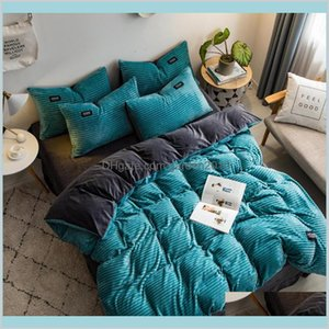 Bedding Sets Supplies Home Textiles & Garden 2020 Magic Velvet Fleece Set 4Pcs Set Stripe Duvet Cover Flat Sheet Pillowcase Ab Side Fl