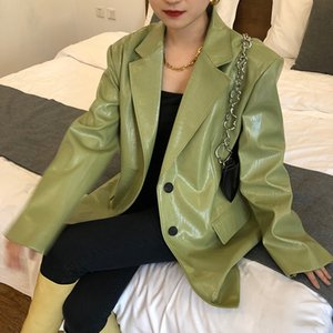 Pu Faux Leather Coat for Women Korean Loose Fit Lapel Y2k Green Long Sleeve Clothes Chic Vintage Female Outwear Jacket