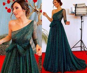 2021 Plus Größe Arabisch ASO EBI One Schulter Sparkly Prom Dresses Backless Sexy A-Line Abend Formale Party Zweiter Rezeption Kleider Kleid ZJ305