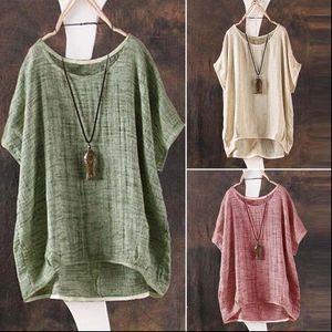 Casual Summer Cotton Linen Women Shirt Plain Loose Jumper Girl Batwing Asymmetrical Tops Sundress Clothes Blouses