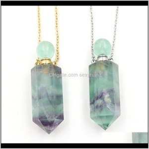 Rock Crystal Quartz Women Necklace Perfume Bottle Pendant Natural Rainbow Fluorite Stone Hexagon Point Bead Essential Oil Diffuser Cha 9Jxom