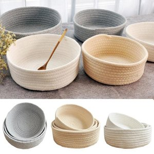 Woven Style Storage Basket Elliptical Cotton Rope Bin Organizer For Home Office Small Items 3 Sizes Machine Washable BV789 Baskets