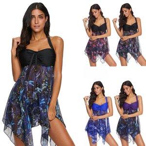 Swimwear Womens Dois Peça Tamanho Grande Swimsuit Swimsuit Swimsuit Swimsuit With shorts separados Tankini impresso para mulheres Saia Chiffon S-5XL 2021