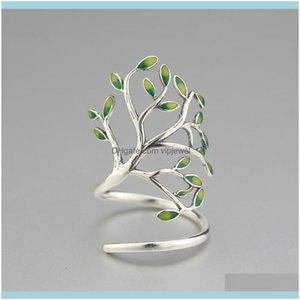 Couple Jewelry925 Sterling Sier Glaze Leaves Open Rings For Women Original Handmade Lady Prevent Allergy Sterling-Sier-Jewelry Lj200831 Drop