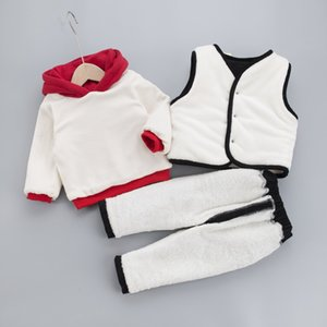 Winter Boy Girl Clothing Set 2020 New Casual Fashion Warm Thicken Kid Suit Children Baby Clothing Vest+coat+pant 3pcs 0-4 Years Y1117