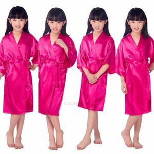 Girls Silk Satin Robe Wedding Bride Solid Flower Bathrobe Short Kimono Robe Night Bath Fashion Dressing Gown Rose XHDV3Z