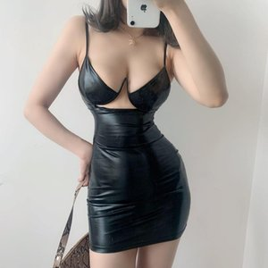 Europe Sexy Fashion Low Chest Hollow Out Thin Shoulder Strap Slim Hip Backless Tank Pu Leather Mini Dress M0YY Casual Dresses