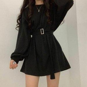 Black Mini Dress Streetwear Women Spring 2021 Korean Fashion Style Long Sleeve Loose Slim Gothic Goth For Casual Dresses