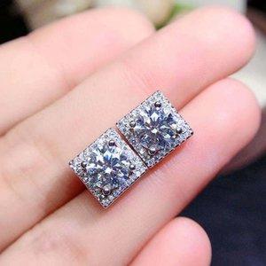 Silver 925 Original Total 2 Brilliant Cut Diamond Test Past D Color Moissanite Square Stud Earrings Fine Gemstone Jewelry