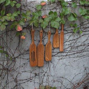 5PCS Wooden Non-Stick Wooden Cooking Utensils Spatula Slotted Spurtle Spatula Sets Kitchen Utensil Set Q0826