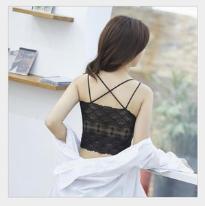 Lace Beautiful Back Women's Wrap Chest Sexy Bottom Strap Vest with Cushion Girl's Hollow Bra HV17