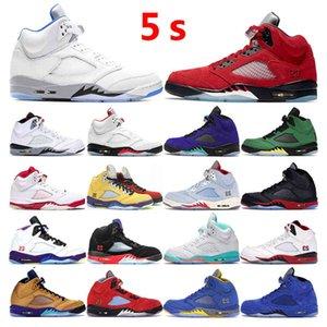 Erkek Basketbol Ayakkabı 5 S Jumpman 5 Hiper Kraliyet Beyaz Çimento Alternatif Yangın Kırmızı Top 3 Metalik Gümüş Spor Sneakers Eğitmenler Açık