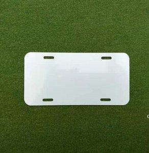 Placa de aluminio de sublimación de aluminio en blanco Hoja de aluminio blanco DIY Placas de publicidad de transferencia térmica DIY Logotipo personalizado 15 * 30 cm 4holes DHF6089