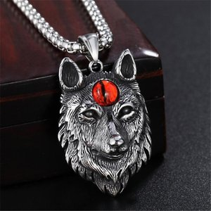 Tibetan Silver Eye Of Devil Wolf Pendant Necklaces Men Power Norse Viking Amulet Animal Head Necklace For Women Vintage Jewelry