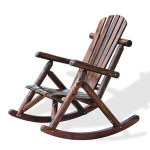 Outdoor Patio Adirondack Wood Bench Chair Rocking Contemporary Solid Log Deck Garden Furniture Single Rocker Camp