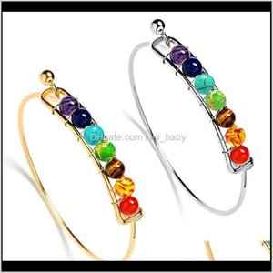 Bangle Bracelets Drop Delivery 2021 Maxi Statement Yoga 7 Chakra Sier Rose Gold Natural Stone Bracelet Beads Reiki Spiritual Buddha Jewelry F