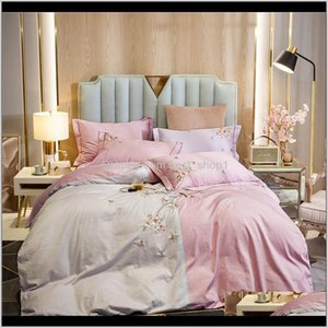 100 Cotton Bedding Sets Queen King Size Duvet Cover Bed Sheets Linen Flowers Embroidery Set Lfjr7 Mks7R