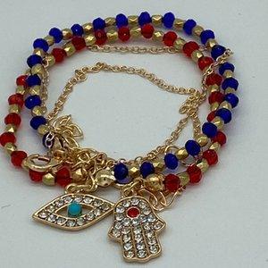 Lucky Fatima Hamsa Hand Blau Böse Auge Charme Armbänder Armband Multilayer Perlen Türkische Schmuck für Frauen Männer Liebhaber