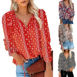 Women's Blouses & Shirts Women Floral Blouse Long Slleve V-neck Loose Print Shirt Office Ladies Casual Chic Tops