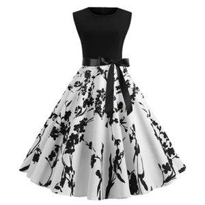 Abiti da donna con girocollo stampato Abiti da donna in stile Hepburn Abiti da donna Summer Spring Designer Designer Designer Flora