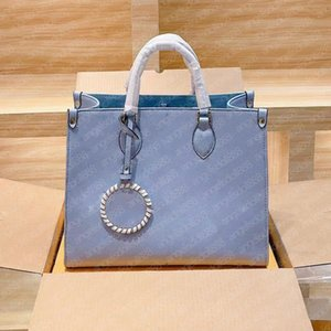 Women large small tote shopping bag 2021 design Blue Gradient logo 3D embossed three colors cowhide Genuine Leather top quality handbags shoulder bags
