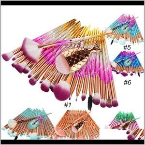 Assessories Health Beauty Drop Доставка 2021 Mermaid Makeup набор 21 шт. Пуховое основание для век для век для век, щетка для бровей с рыбы хвоста алмазные глаза