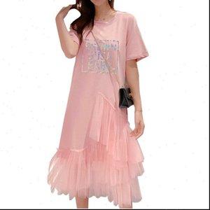 Reflective Letter Women Dresses Print Irregular Shirt Dress Layer Ruffles Mesh Long Summer Loose Casual High Street Sundress 3XL
