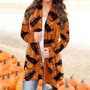 Женские трикотажные тройники повседневные длинные трикотажные кардиганские топы Хэллоуин тыква животных кошка печатная пиджака рукава женские пальто женские верхняя одежда