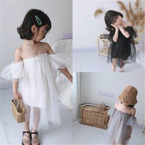 SK INS Girls dresses off shoulder suspender dress gauzy princess kids splicing polka dots lace tulle
