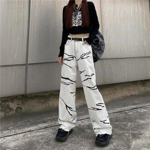 Women's Jeans 2021 Autumn Print White Women Low Rise Y2K Korean Fashion Oversize Baggy Wide Leg Trousers Female