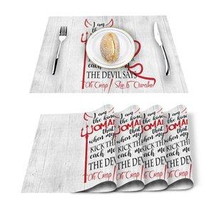Table Runner 4 6pcs English Text Wood Grain Kitchen Placemat Set Dining Mats Cotton Linen Pad Bowl Cup Mat Home Decor