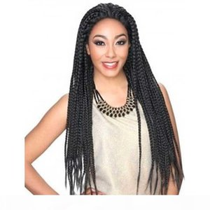 Braided Lace Front Wig Baby Hairs Synthetic Heat Resistant Fiber Braid Hair Black Color Double Box Braids Lacefront Wigs For Black Women