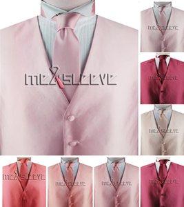 3pcs (Vest +Necktie + Hanky) Tailor Made Summer Man Suit Set Red Purple Pink Men's Luxury Fabric Tailored Formal Custom Design Vests Stage Show Solid Wedding Waistcoats