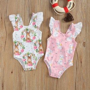 Summer Children Breathable Little Girl One-Piece Swimsuit Cute Rabbit Flower Print Flying Sleeve Swimsuit Vacation Travel 1469 Z2