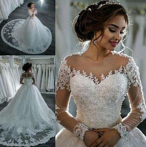 Vestidos De Noiva 2019 New Elegant A Line Long Sleeve Dress Tulle Appliques Beaded Princess Lace Wedding Gowns plus size