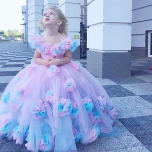 3D Flower Girls Dress Baby Girl Toldders Communion Dresses Ball Gowns Off Shoulder Birthday Pageant Party Gown