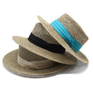 Yaz kadın Büyük Yay Güneş Şapka Hepburn Stil Vintage Tasarım Geniş Yan Saman Katı Renk Anti-UV Tatil Plajı Brim Şapkalar