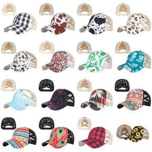 Fashion Sunflower Ponytail Party Hats Woman Washed Mesh Criss Cross Baseball Cap Leopard Messy Bun Hat