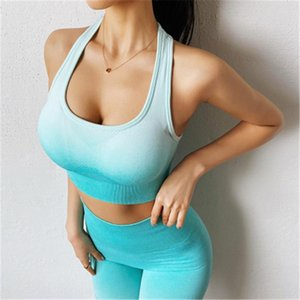 Womens Gather Yoga Vest Tee Fashion Trend Gradient Sexy Back Sports Vests Skinny Short Tops Female Fitness Running Underwear Shockproof Bra