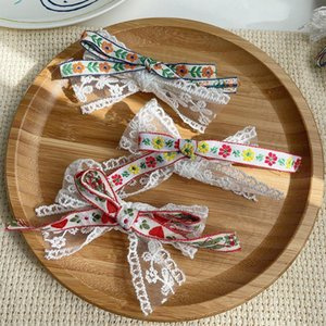 Children Cute Colors Sweet Floral Lace Bow Ornament Hair Clips Baby Girls Lovely Barrettes Hairpins Kid Fashion Accessories