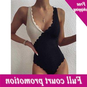 Batsuit Varleinsar Подсолнух V-образным вырезом Сексуальная спагетти Группа ребро Кусок Лоскутное мода Женщины Бикини Femme