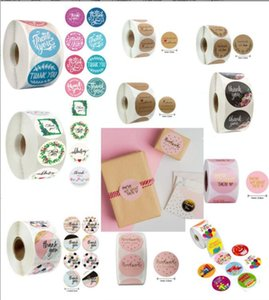 pink colors 500pcs roll 10 Styles Flowers Heart Thank You Adhesive Sticker Scrapbooking Handmade Business Packaging Seal Decoration Stickers 1VCT