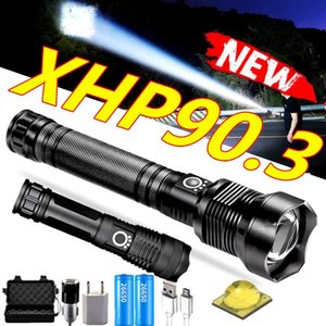 Flashlights Torches 2021 XHP90.3 XHP70.2 LED Tactical Waterproof Torch Zoom Hunting Camping Lamps 26650 Rechargeable Powerful
