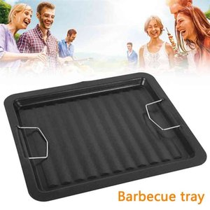 1pc Grill Pan Non Stick Frying Pan Stone Rectangle Camping Outdoor Cookware BBQ Baking Tray Barbecue Plate Accessorie 210724